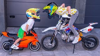 Download МАМА нас НАКАЗАЛА!!! Tisha and Dania ride on children's motorcycle and stuck in the ground . Video