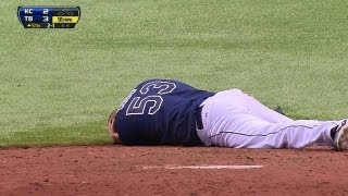 Download KC@TB: Cobb hit in head by liner, leaves on stretcher Video