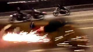 Download 200KPH Two-Stroke Motorcycle turns into a FIREWORKS !!! - ″ride safe always″ Video