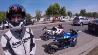 Download ROAD RAGE AGAINST MOTORCYCLES | Fresno Police get involved | GSXR 750 MOTOVLOG Video