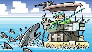 Download Minecraft - STRANDED WITH GREAT WHITE SHARKS! (Shark Swarm vs Raft Fort) Video
