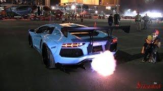 Download SEMA Rollout Compilation 2014!! Ferrari 458 Liberty Walk CRASH, FIRE revving Aventadors! Video
