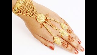 Download GOLD BRACELETS WITH RING FOR WEDDING, GOLD JEWELLERY COLLECTION Video