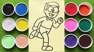 Download Đồ chơi trẻ em TÔ MÀU TRANH CÁT NÔBITA, Learn Colors Sand Painting Nobita (Chim Xinh) Video