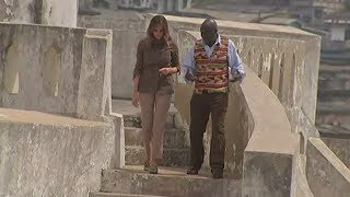 Download Melania Trump pays 'touching' visit to slave fortress in Ghana Video