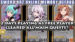 Download 2 Days As Free Player (Asuna Lv100) Cleared All Contents!! (Sword Art Online Memory Defrag) Video