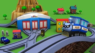 Download Trains for children - police cartoon for children - chu chu cartoon - Police car - Toy Factory Video