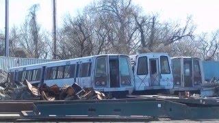 Download WMATA Metrorail: Three RETIRED 1000-series Carriages at Scrap Yard in Baltimore! Video