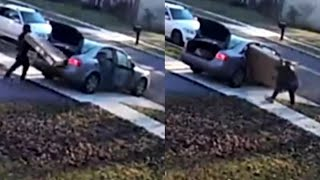 Download Porch Pirate Struggles to Fit Stolen TV Into Car Video