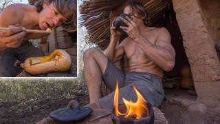 Download Cooking Squash & Tea on Rocket Stove and Making a Torch at the Hut Video