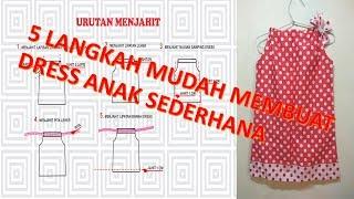 Download Cara membuat pola dan menjahit baju dress anak perempuan sederhana menggunanakan mesin jahit mini po Video