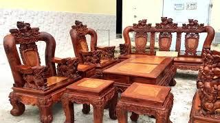 Download Bộ Ghế gỗ cẩm lai tay 16 siêu đẹp . Nội thất gỗ quý 0918918288 Video