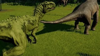 Download Jurassic World Evolution - Dreadnoughtus vs Indominus Rex Camouflage (1080p 60FPS) Video