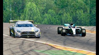 Download Mercedes F1 2017 vs Mercedes Benz AMG GT3 - Spa Video