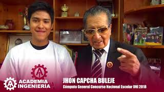 Download Testimonio de Jhon Capcha Buleje, Cómputo General Concurso Nacional Escolar UNI 2018 Video