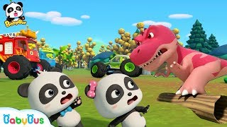 Download Baby Panda Drops into The Dino World | Monster Cars And Dinosaurs | BabyBus Cartoon & Songs Video
