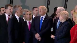 Download Raw: Trump Pushes Past Montenegro PM at NATO Video