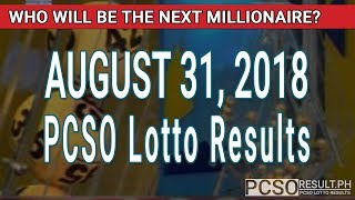 Download PCSO Lotto Results Today August 31, 2018 (6/58, 6/45, 4D, Swertres, STL & EZ2) Video