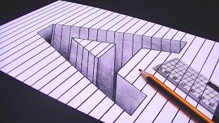Download رسم حرف A ثري دي 3D محفور على الورقة | خدع بصرية ثري دي Video