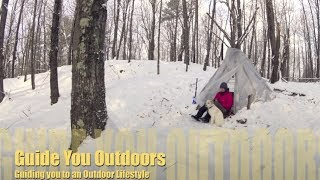 Download Winter Camping in a Tipi Hot Tent Video