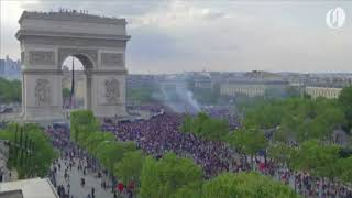 Download People take to streets of Paris to celebrate France's World Cup victory Video