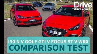 Download Hyundai i30 N v Golf GTI v Impreza WRX v Focus ST Comparison | Drive.au Video