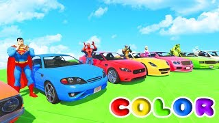 Download FUN LEARN COLORS CARS IN TRACTOR w/ Superheroes 3D Animation for Children and Babies Video