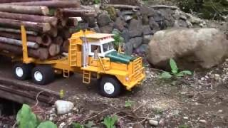 Download RC logging truck hauling huge load Video