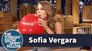 Download Sofia Vergara Chats with Jimmy While Sucking Helium Video