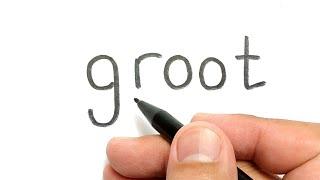 Download WOW, belajar cara menggambar kata GROOT menjadi gambar KEREN Video