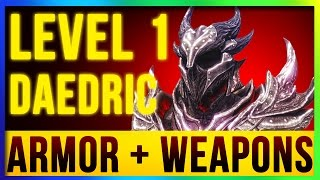 Download Skyrim Remastered Best DAEDRIC Weapons & Armor ALL Enchanted At LEVEL ONE! (Special Edition Build) Video