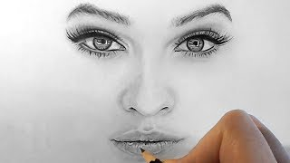 Download How to draw, shade realistic eyes, nose and lips with graphite pencils | Step by Step Video