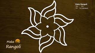 Download Colorful Flower Kolam with 5x3 dots   Holi Special Rangoli   Daily Kolam Video