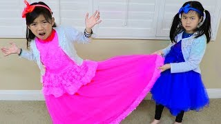 Download Emma & Jannie Pretend Play Making Princess Dress w Sewing Machine Toy Video