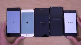 Download Google Pixel 2 vs iPhone 8 vs Galaxy S8 vs Lumia 950 vs Xperia XZ1 Compact - Speed Test! Video