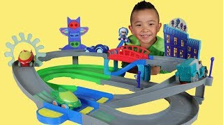 Download PJ MASKS Toys Unboxing Nightime Adventures Rev N Rumblers Track Playset With Ckn Video
