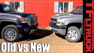 Download 2016 GMC Sierra Denali HD vs 2002 Chevy Silverado 2500 HD Mashup Review - Old vs New Ep.1 Video