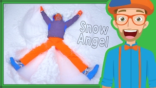 Download The Blippi Snow Angel | Winter fun for Children Video
