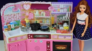 Download Toy kitchen pretend play food cooking baking Japanese Barbie toy playset Video