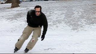 Download Ice Skating In Inline Skates? Ice Blades Video