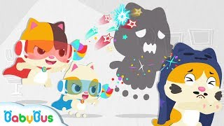 Download Little Heroes Chased Big Monster Away | Baby Kitten Family | Baby Cartoon | Halloween Song | BabyBus Video