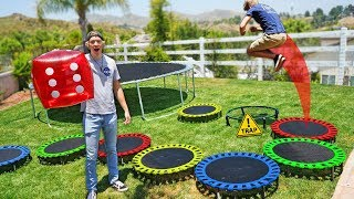 Download GIANT Trampoline Board Game in our Backyard!! *DONT LAND ON TRAPS* Video