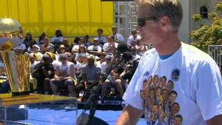 Download Warriors' Head Coach Steve Kerr Jokes To Fans During Speech Video
