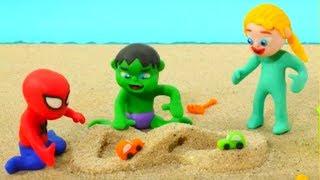 Download Superhero Babies Play With Sand Frozen Elsa Spiderman Hulk Play Doh Cartoons Stop Motion Video