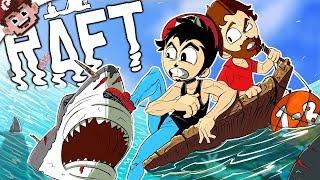 Download STRANDED in the OCEAN! | DerpRaft vs Sharks! (RAFT Multiplayer - Part 1) Video