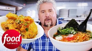 Download Asian Sticky Wings & Oxtail Ramen Blow Guy Fieri's Mind | Diners, Drive-Ins & Dives Video