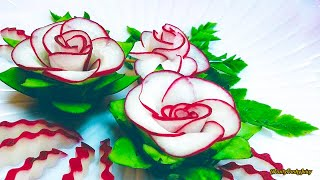 Download The Beauty Of Rose Carving Garnish: Best Vegetable For Flower Design - Red Radish & Cucumber Video