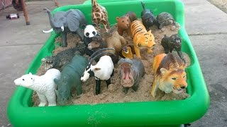 Download Learn Safari Wild ZOO Animals Names with Schleich And Safari Ltd TOY collection/Playing With Sand Video