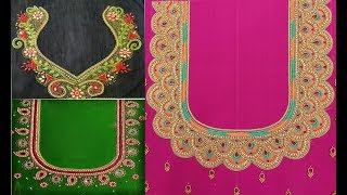 Download Aari Work And Maggam Work Blouse Back Neck Designs For Silk Saree|Hand Embroidery Work Blouse Design Video