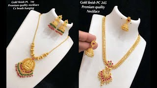 Download new arrival one gram gold necklace design collections with price Video